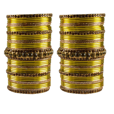 Multi Color Stone Stud Brass Bangle - ban3455