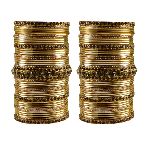 Multi Color Stone Stud Brass Bangle - ban3461