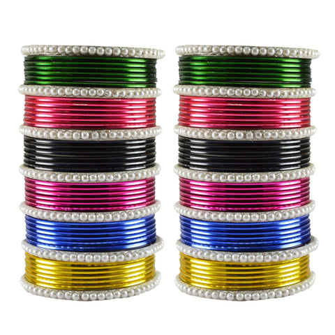 Multi Color Moti Brass Bangle - ban3482