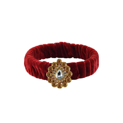 Maroon Color Stone Stud Brass Bangle - ban3831