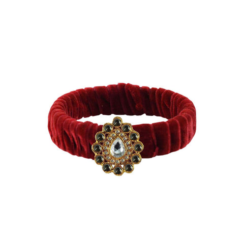 Maroon Color Stone Stud Brass Bangle - ban3833