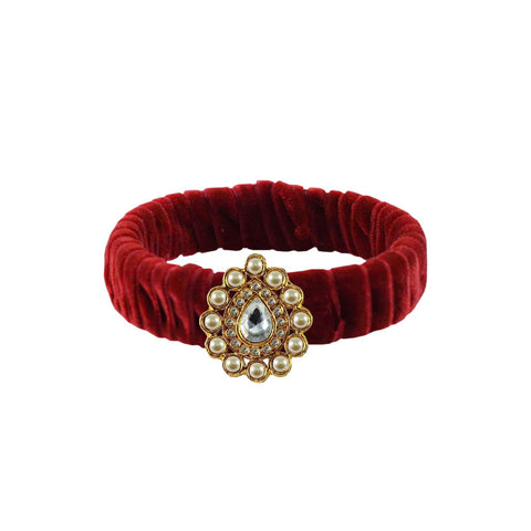 Maroon Color Stone Stud Brass Bangle - ban3835
