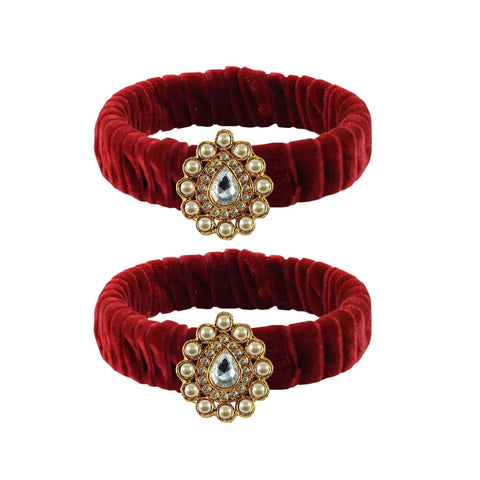 Maroon Color Stone Stud Brass Bangle - ban3836