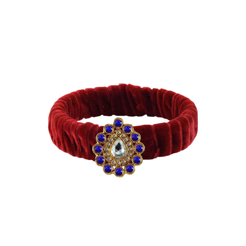 Maroon Color Stone Stud Brass Bangle - ban3837