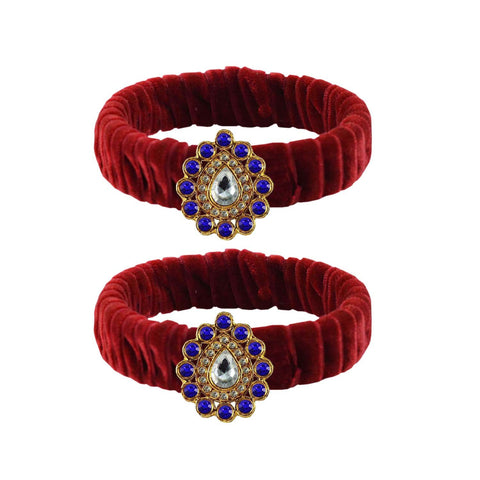 Maroon Color Stone Stud Brass Bangle - ban3838