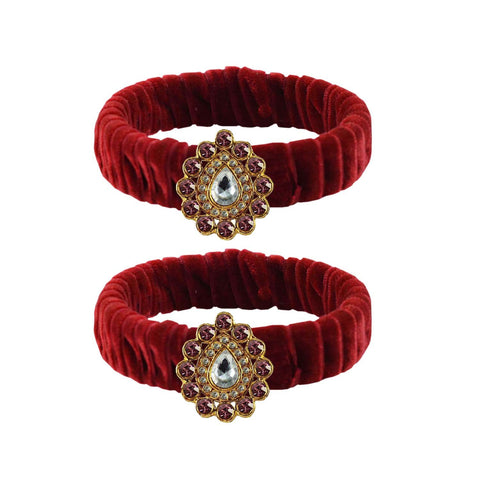 Maroon Color Stone Stud Brass Bangle - ban3840