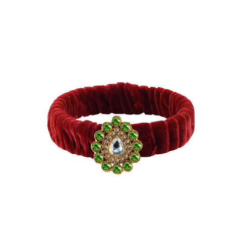 Maroon Color Stone Stud Brass Bangle - ban3841