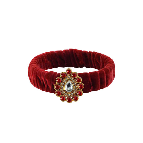 Maroon Color Stone Stud Brass Bangle - ban3843