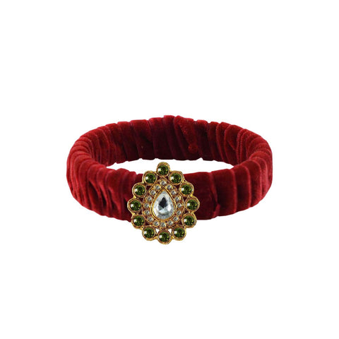 Maroon Color Stone Stud Brass Bangle - ban3845