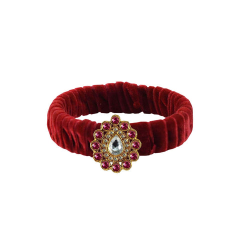 Maroon Color Stone Stud Brass Bangle - ban3847