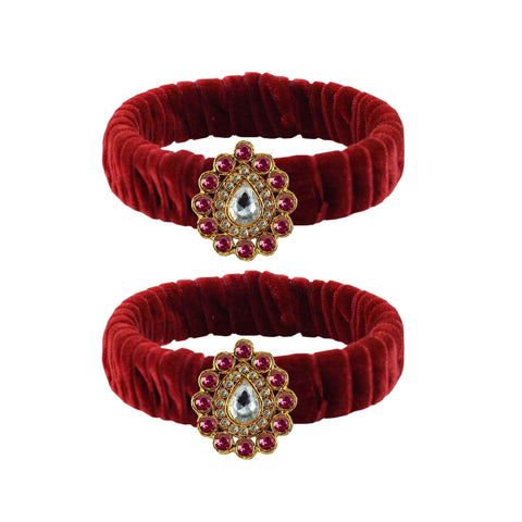 Maroon Color Stone Stud Brass Bangle - ban3848