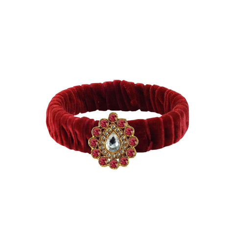 Maroon Color Stone Stud Brass Bangle - ban3849