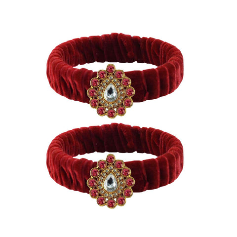 Maroon Color Stone Stud Brass Bangle - ban3850