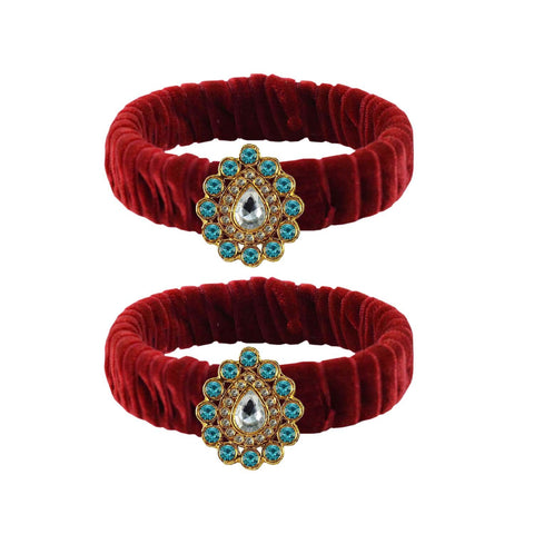 Maroon Color Stone Stud Brass Bangle - ban3852