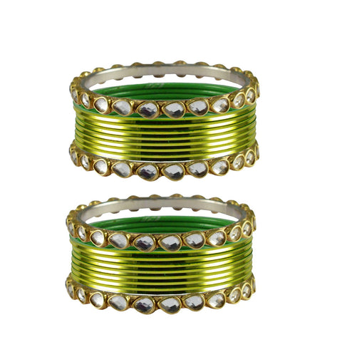 Light Green Color Stone Stud Metal Bangle - ban4061