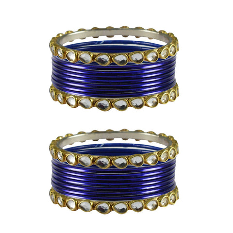 Dark Blue Color Stone Stud Metal Bangle - ban4062