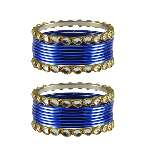 Blue Color Stone Stud Metal Bangle - ban4066