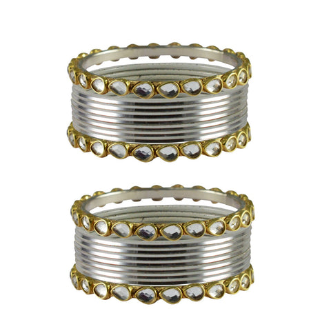 White Color Stone Stud Metal Bangle - ban4067