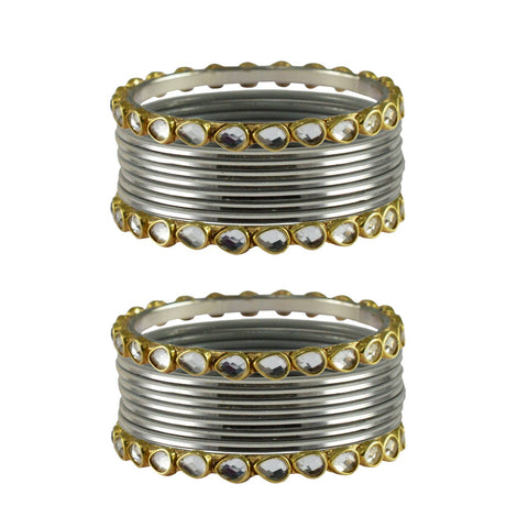 Silver Color Stone Stud Metal Bangle - ban4069