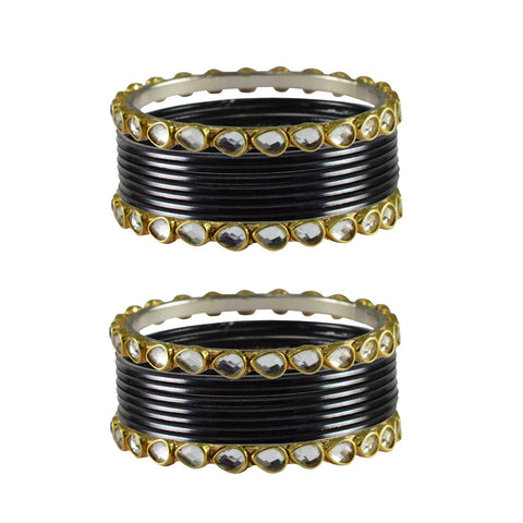 Black Color Stone Stud Metal Bangle - ban4075