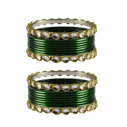 Green Color Stone Stud Metal Bangle - ban4076