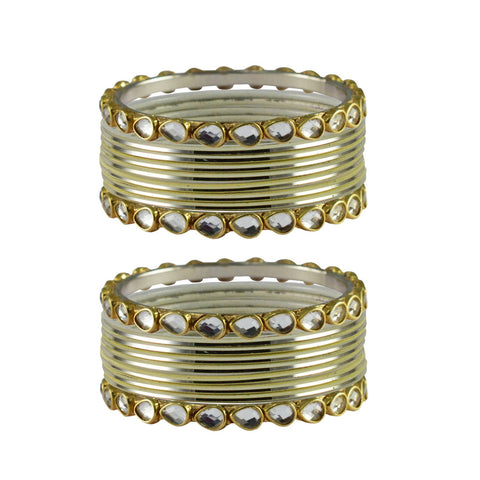 Cream Color Stone Stud Metal Bangle - ban4078