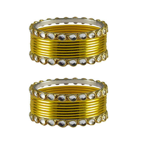Yellow Color Stone Stud Metal Bangle - ban4079