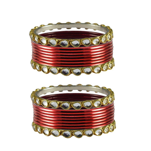Maroon Color Stone Stud Metal Bangle - ban4080