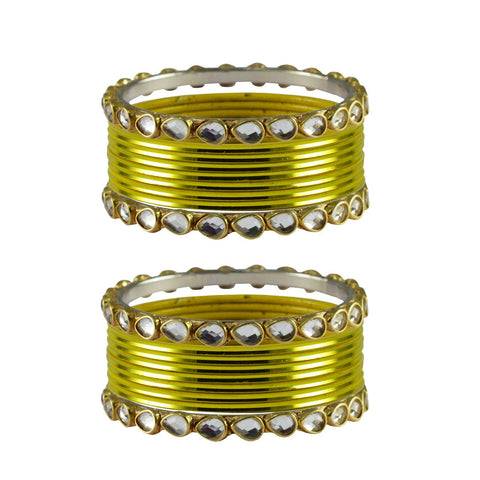 Lemon Color Stone Stud Metal Bangle - ban4081