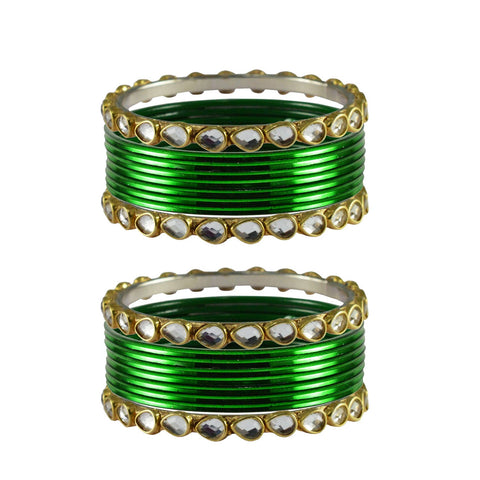 Green Color Stone Stud Metal Bangle - ban4082