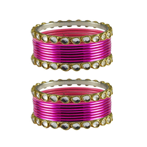 Rani Color Stone Stud Metal Bangle - ban4083