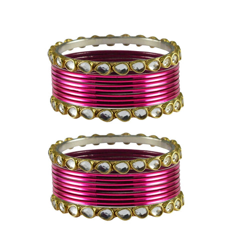 Dark Pink Color Stone Stud Metal Bangle - ban4085