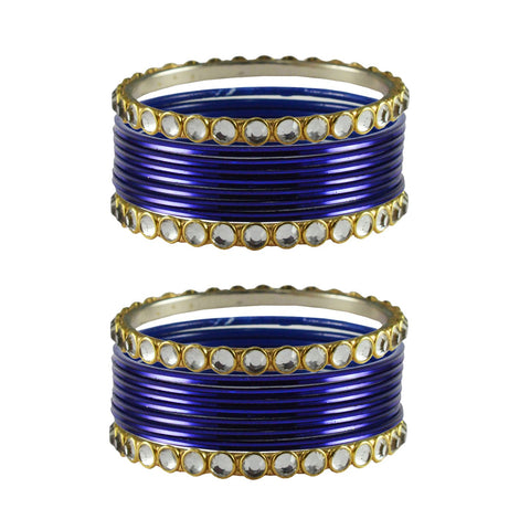 Blue Color Stone Stud Metal Bangle - ban4100