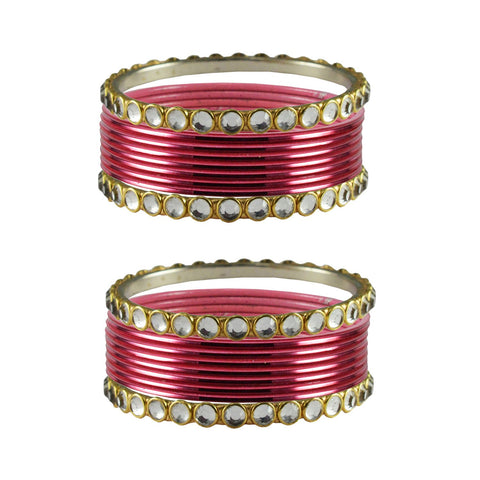 Gajari Color Stone Stud Metal Bangle - ban4101