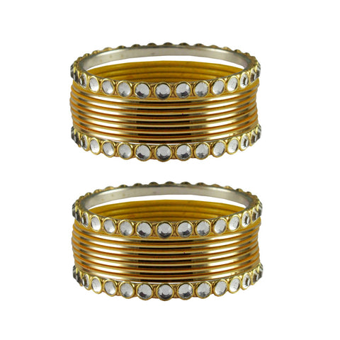 Golden Color Stone Stud Metal Bangle - ban4102