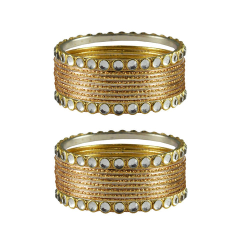 Golden Color Stone Stud Metal Bangle - ban4103