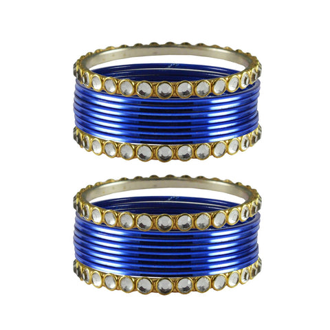 Blue Color Stone Stud Metal Bangle - ban4104
