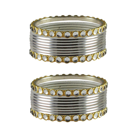 White Color Stone Stud Metal Bangle - ban4105