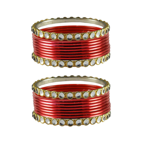 Red Color Stone Stud Metal Bangle - ban4106