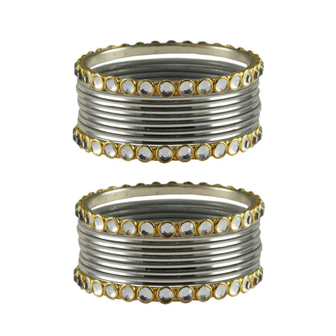 Silver Color Stone Stud Metal Bangle - ban4107