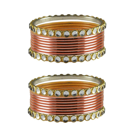 Peach Color Stone Stud Metal Bangle - ban4108