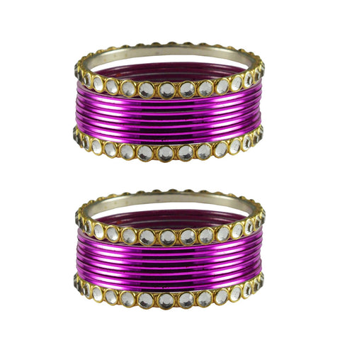 Jamani Color Stone Stud Metal Bangle - ban4109
