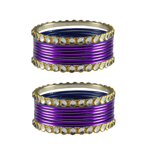 Dark Jamani Color Stone Stud Metal Bangle - ban4110