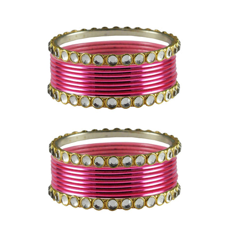 Gajari Color Stone Stud Metal Bangle - ban4111
