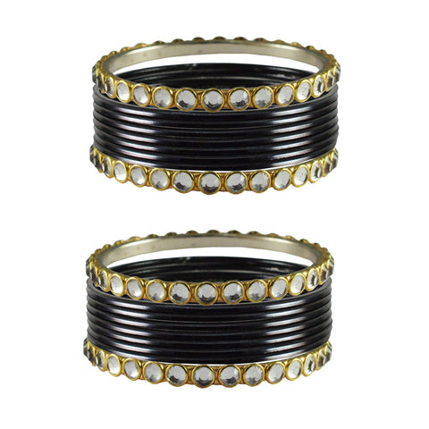 Black Color Stone Stud Metal Bangle - ban4113