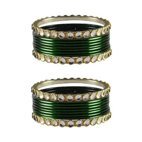 Dark Green Color Stone Stud Metal Bangle - ban4114