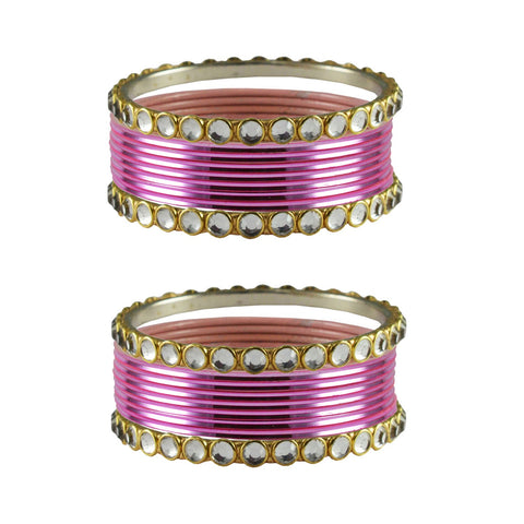 Pink Color Stone Stud Metal Bangle - ban4115