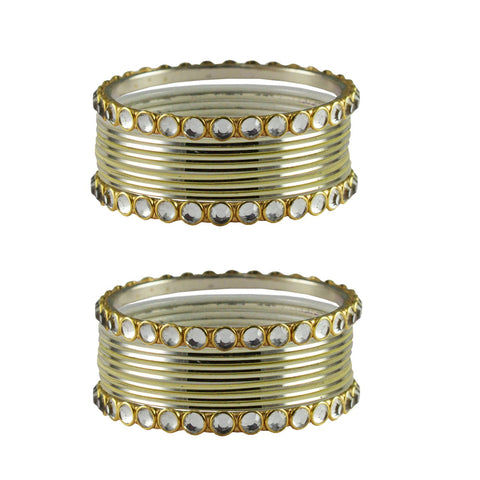 Cream Color Stone Stud Metal Bangle - ban4116