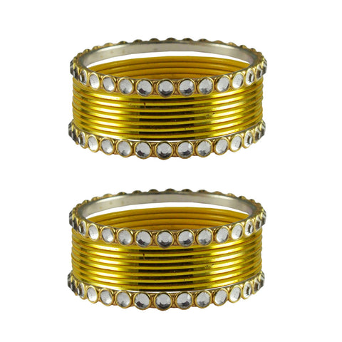 Yellow Color Stone Stud Metal Bangle - ban4117