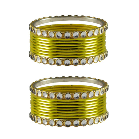 Yellow Color Stone Stud Metal Bangle - ban4119